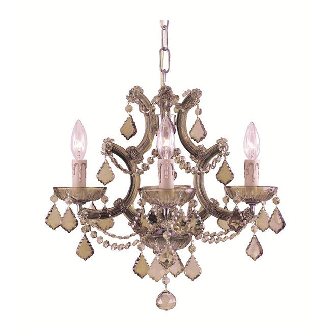 Crystorama Maria Theresa 4-light Antique Brass Crystal Mini Chandelier