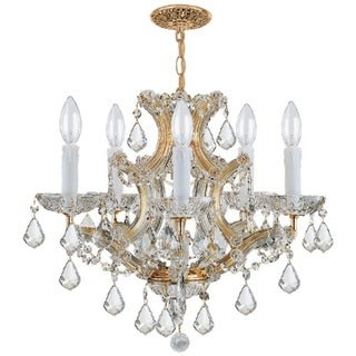 Crystorama Maria Theresa 5-light Gold/ Crystal Chandelier