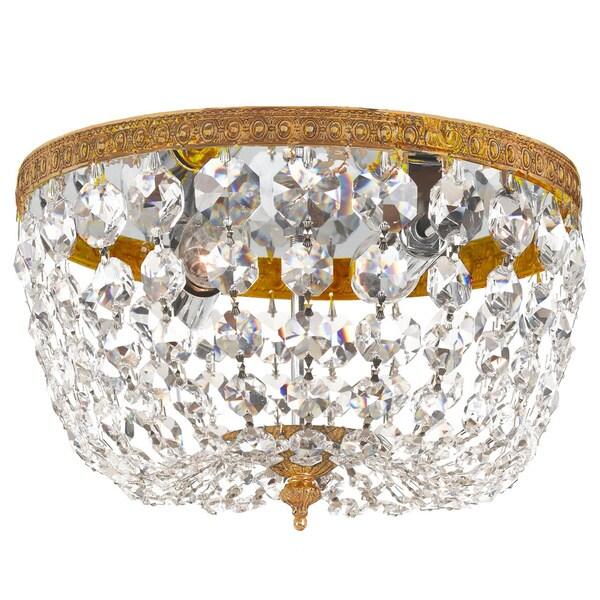 Crystorama Richmond 2-light Olde Brass Crystal Flush Mount