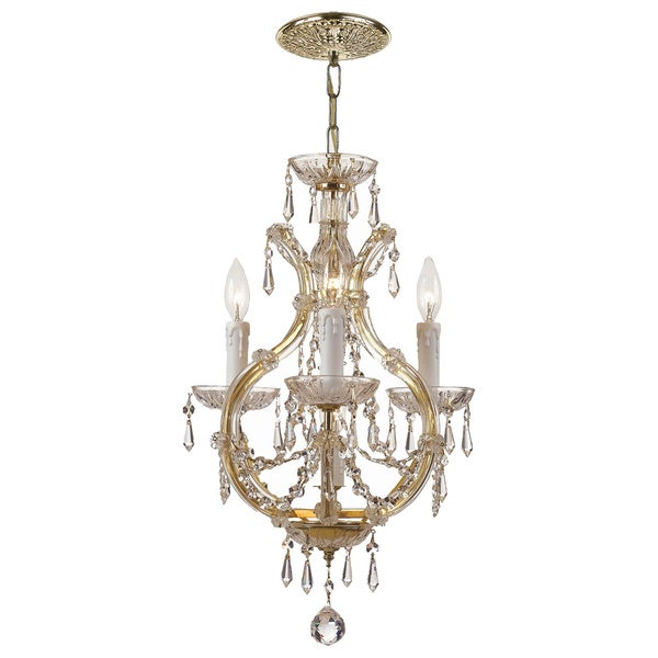 Crystorama Maria Theresa 3-light Gold Mini Chandelier