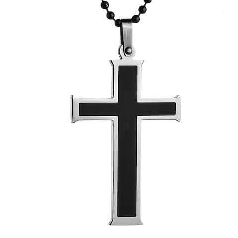 Stainless Steel Men's Black Resin Cross Necklace