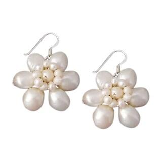 Silver Freshwater Pearl Flower Earrings (3-10 mm) (Thailand)