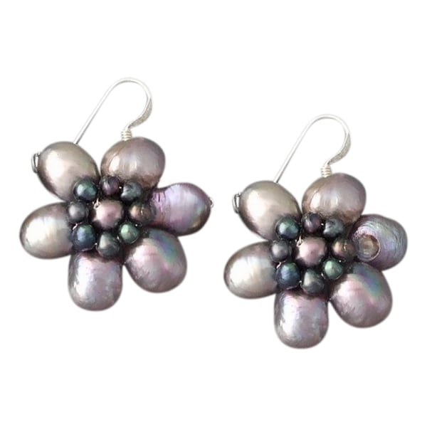 Silver Black Freshwater Pearl Flower Earrings (3-10 mm) (Thailand)