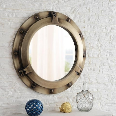 "Starliner 34"" Wall Mirror - Antique Metal"