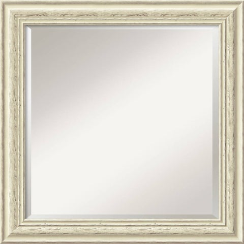 Wall Mirror Square, Country White Wash 25 x 25-inch
