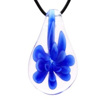 Murano Inspired Glass Blue Flower Teardrop Pendant