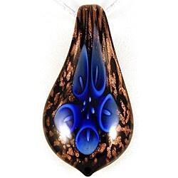 Glass Blue Lily Flower Teardrop Pendant