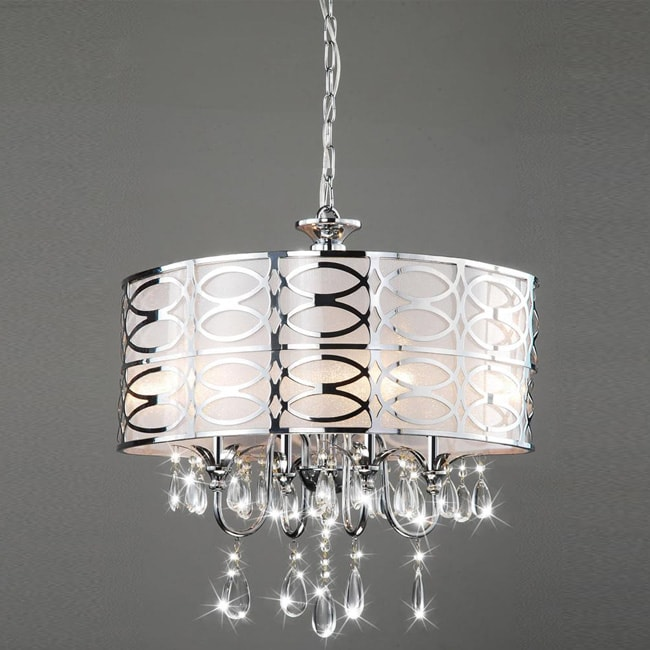 Indoor 4-light Chrome/ Crystal Chandelier
