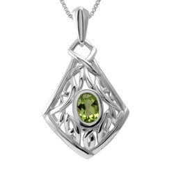 Handmade Sterling Silver Celtic Knot Peridot Necklace (Thailand)