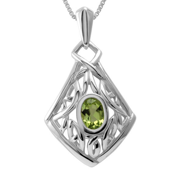 Sterling Silver Celtic Knot Peridot Necklace (Thailand)