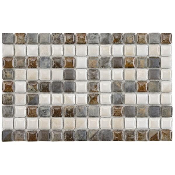 SomerTile 6x9-in Samoan Greek Key Perla 9/16-in Border Porcelain Mosaic (Pack of 6)