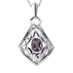Handmade Sterling Silver Amethyst Celtic Knot Necklace (Thailand)