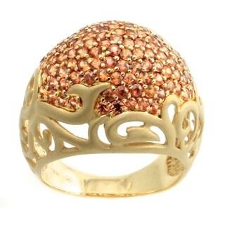 14k Yellow Gold Orange Sapphire Dome Ring