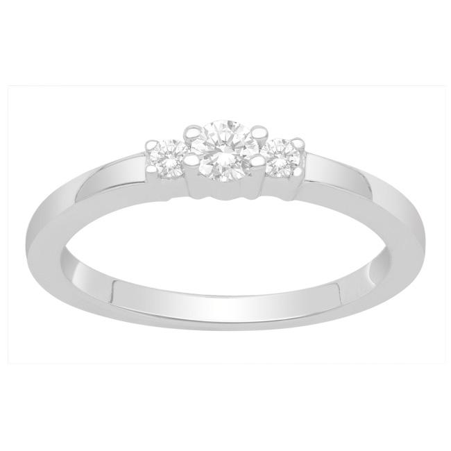 Sterling Silver Diamond Three Stone Promise Ring (H-I, I3)