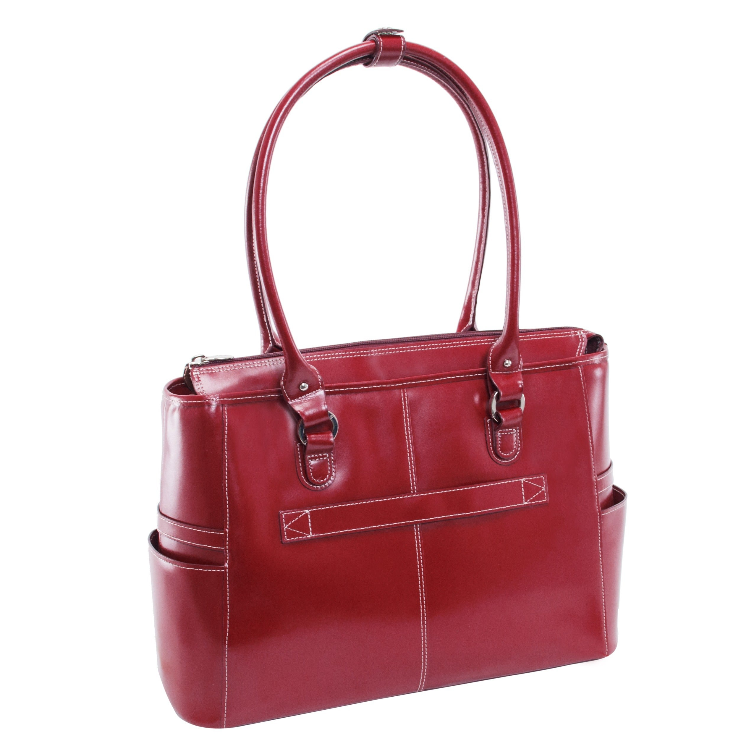 McKlein 15 Leather Ladies Laptop Briefcase Willow Springs Red 96566 Top Grain Cowhide Leather W Series