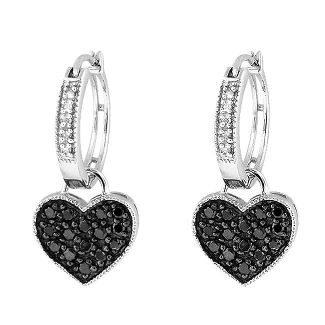 Sterling Silver 1/2ct TDW Black and White Diamond Heart Hoop Earrings - Thumbnail 0