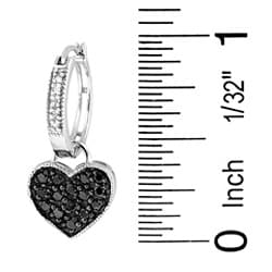 Sterling Silver 1/2ct TDW Black and White Diamond Heart Hoop Earrings - Thumbnail 2