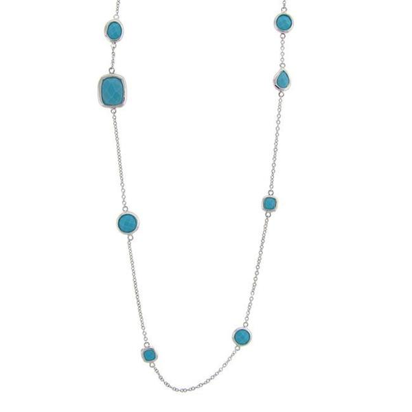Dolce Giavonna Sterling Silver Synthetic Turquoise Station Necklace