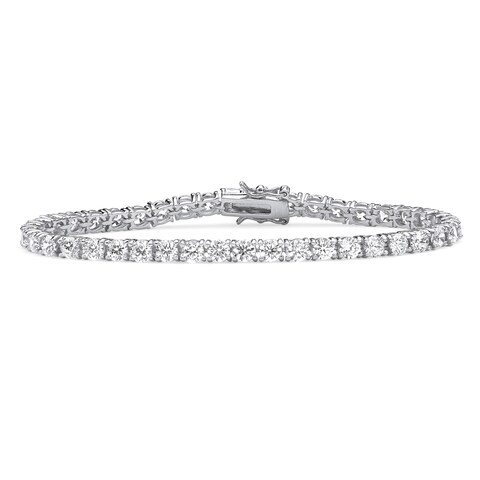 Sterling Silver 4.5mm Round Cubic Zirconia Tennis Bracelet