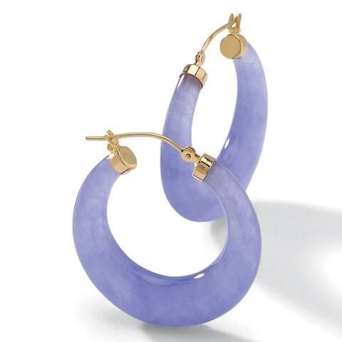 Lavender Jade 14k Yellow Gold Hoop Earrings Naturalist