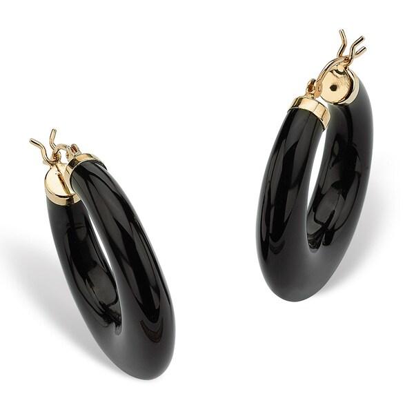 Reconsuted Black Onyx 14k Yellow Gold Hoop Earrings Naturalist