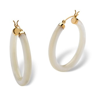 PalmBeach Genuine Mother-Of-Pearl 14k Yellow Gold Hoop Earrings Naturalist