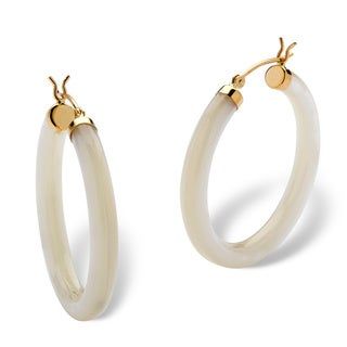 Genuine Mother-Of-Pearl 14k Yellow Gold Hoop Earrings Naturalist