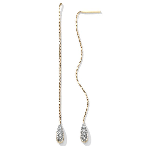 PalmBeach Pave Diamond Accent Thread-Thru Earrings in 10k Gold
