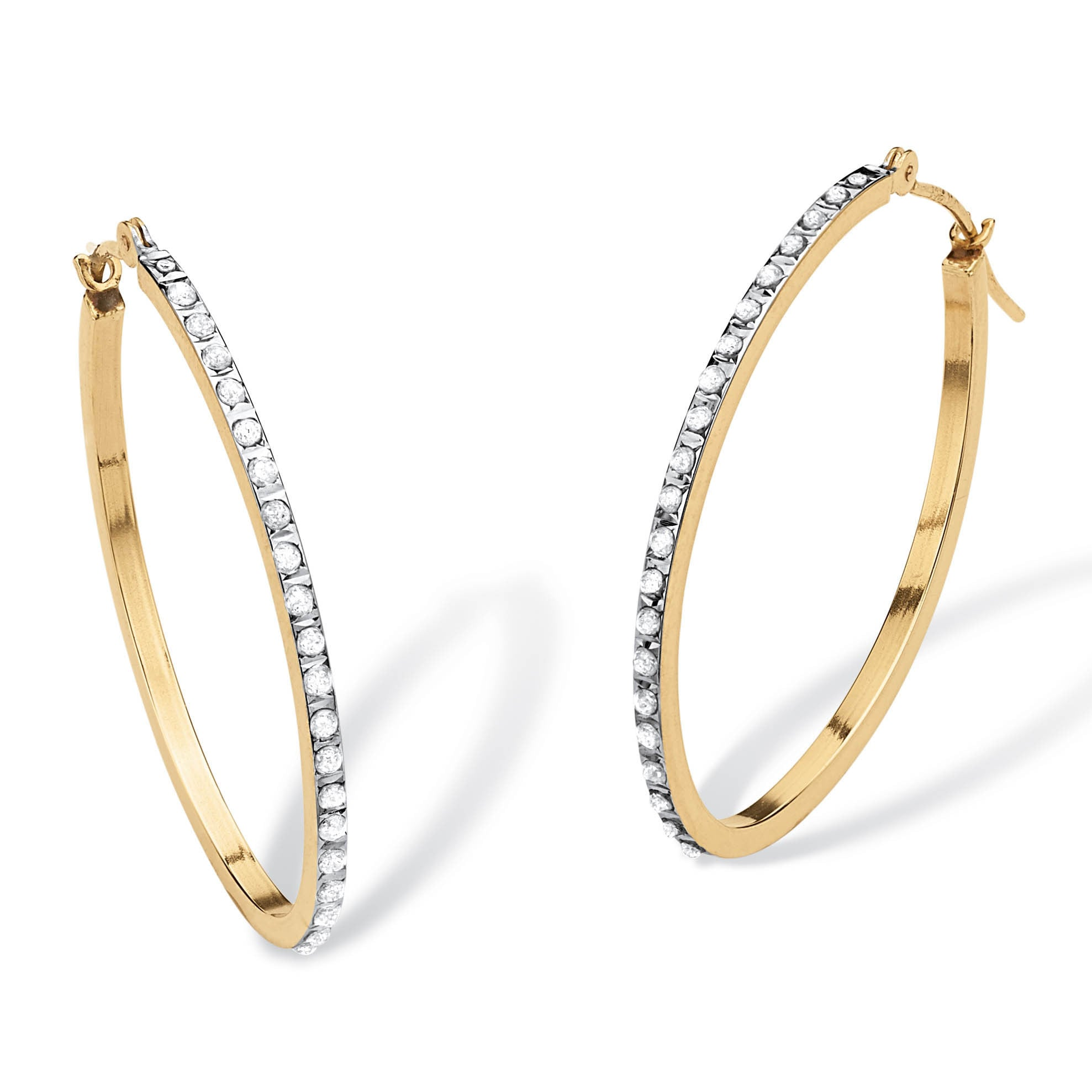 Diamond Accent 14k Yellow Gold Diamond Fascination Hoop Earrings 1 Diameter Overstock 5245701