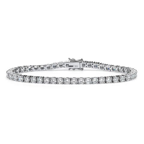 """6.90 TCW Round Cubic Zirconia Platinum over Sterling Silver Tennis Bracelet 7 1/2"""" Classic"""