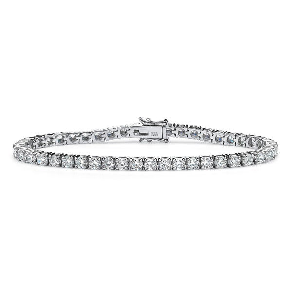 "6.90 TCW Round Cubic Zirconia Platinum over Sterling Silver Tennis Bracelet 7 1/2"" Classic"