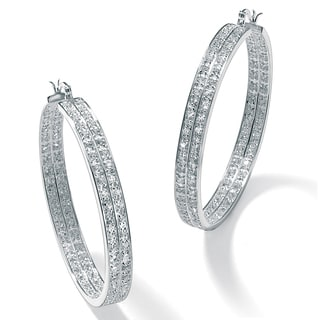 4.50 TCW Round Cubic Zirconia Inside-Out Double Row Hoop Earrings in Silvertone Bold Fashi