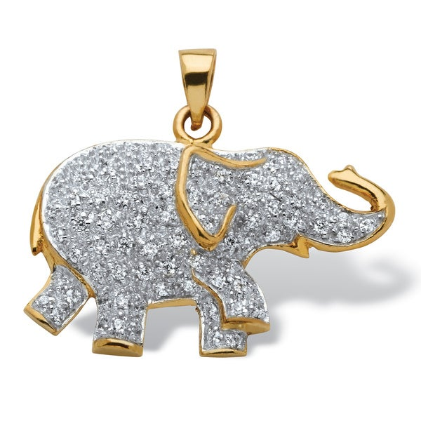 .92 TCW Round Cubic Zirconia 18k Gold over Sterling Silver Elephant Pendant Glam CZ
