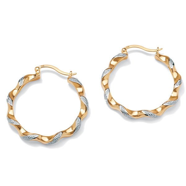 PalmBeach Diamond Accent 18k Gold over Sterling Silver Two-Tone Hoop Earrings