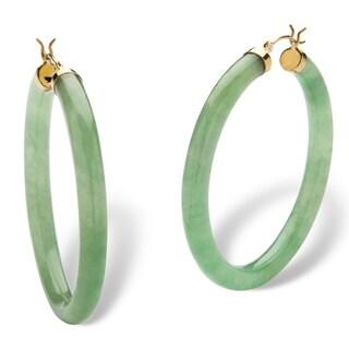 Genuine Green Jade 10k Yellow Gold Hoop Earrings Naturalist