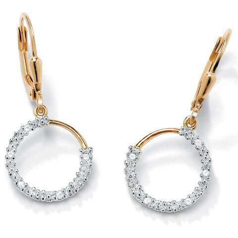 1/10 TCW Diamond 18k Gold over Sterling Silver Hoop Earrings