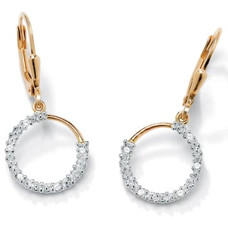 PalmBeach 1/10 TCW Diamond 18k Gold over Sterling Silver Hoop Earrings