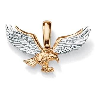 Men S Diamond Accent 10k Yellow Gold Two Tone Golden Eagle Pendant