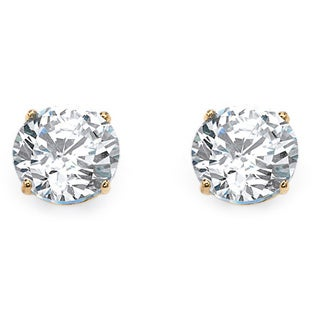 PalmBeach 1.80 TCW Round Cubic Zirconia Stud Earrings in 10k Gold Classic CZ