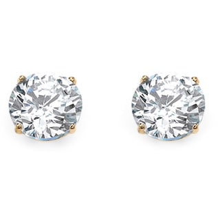 1.80 TCW Round Cubic Zirconia Stud Earrings in 10k Gold Classic CZ