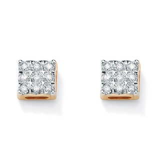 PalmBeach 1/7 TCW Round Diamond 10k Yellow Gold Square-Shaped Stud Earrings