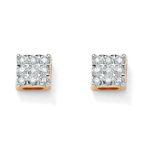 1/7 TCW Round Diamond 10k Yellow Gold Square-Shaped Stud Earrings