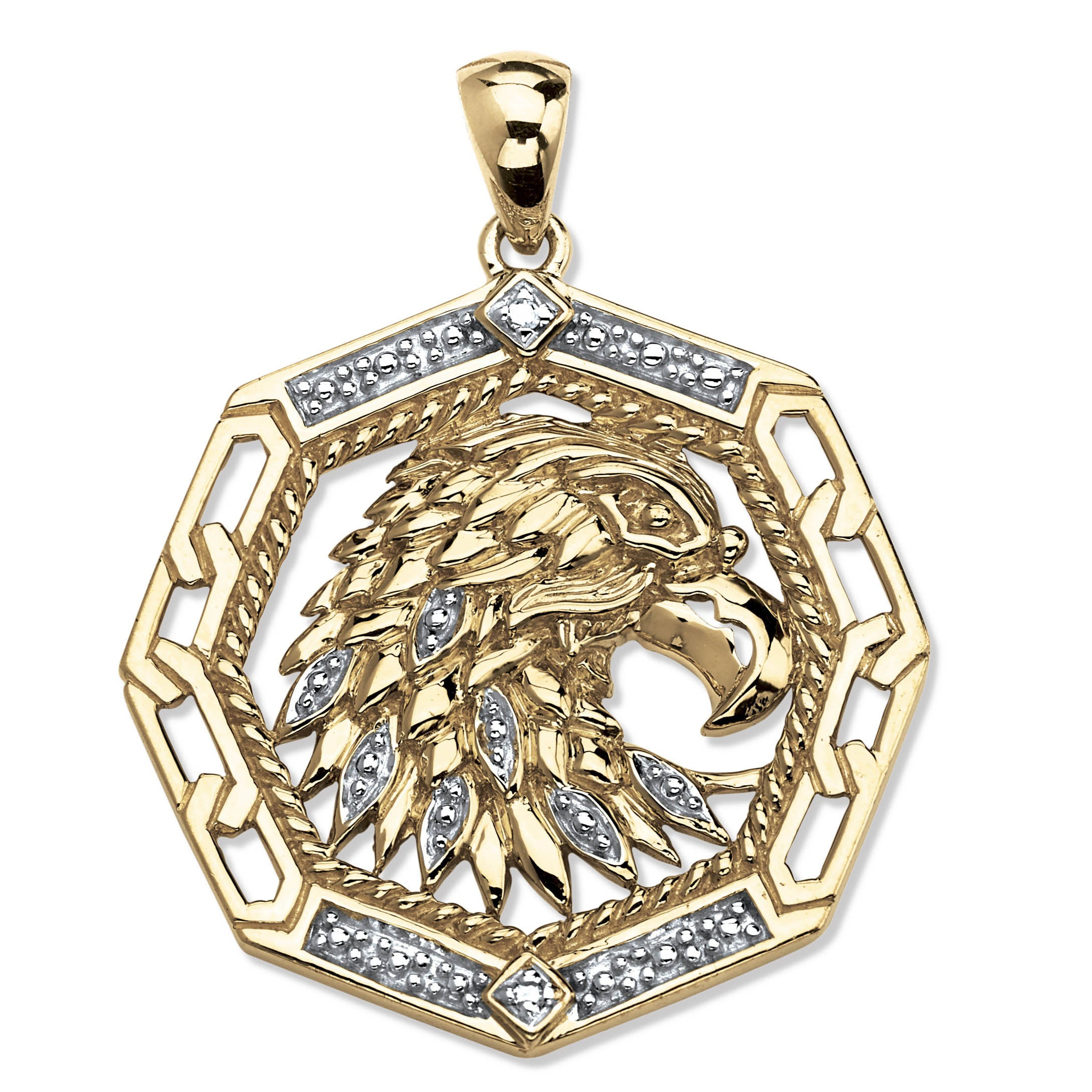 Palm Beach 18k Gold over Silver Men's Diamond Accent Eagl...