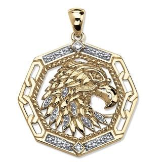 PalmBeach 18k Gold over Silver Men's Diamond Accent Eagle Pendant