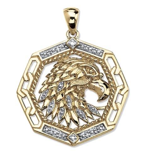 18k Gold over Silver Men's Diamond Accent Eagle Pendant