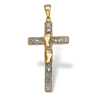 PalmBeach Diamond Accented Footprints Cross Pendant in 18k Gold over Sterling Silver