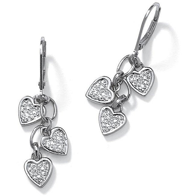 Diamond Accent Platinum Over Sterling Silver Dangling Heart Shaped Earrings