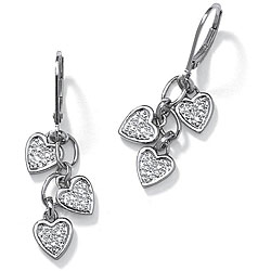 Diamond Accent Platinum over Sterling Silver Dangling Heart-Shaped Earrings