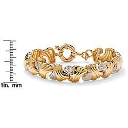 ".19 TCW Round Diamond 14k Yellow Gold-Plated Wave-Link Bracelet 7 1/2"" - Thumbnail 1"