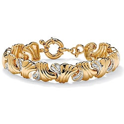 PalmBeach .19 TCW Round Diamond 14k Yellow Gold-Plated Wave-Link Bracelet 7 1/2""